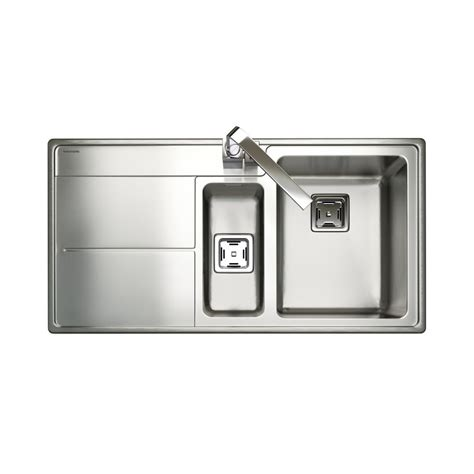 rangemaster kitchen sinks rangemaster arlington handed sink 1 5 bowl in stainless steel