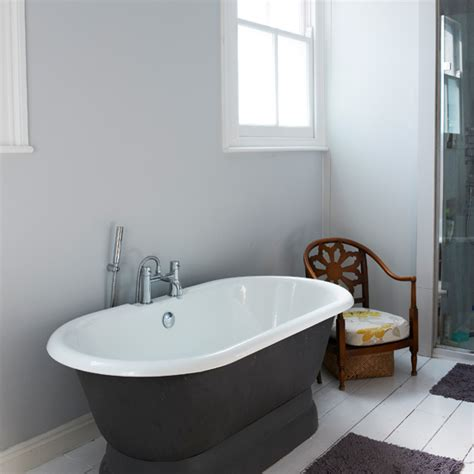 how to get bathtub white freestanding bath in charcoal and white bathroom ideal home