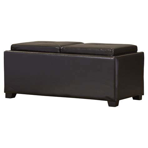 darby home co cassy leather storage tray ottoman reviews