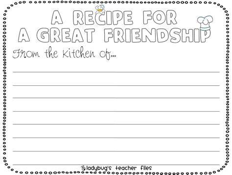 recipe for friendship template enemy pie friendship writing activities enemy pie