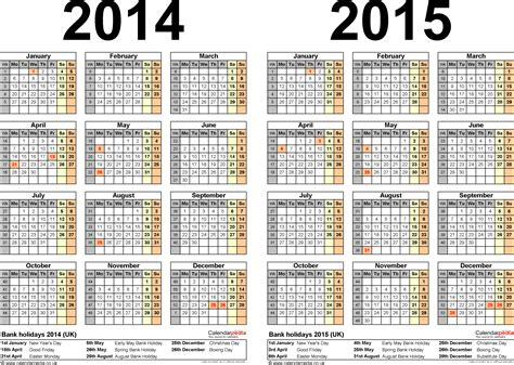 2014 2015 calendar template two year calendars for 2014 2015 uk for pdf