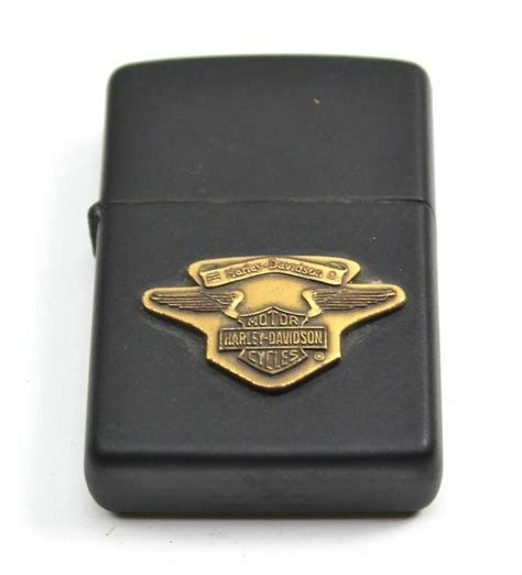 Vintage Harley Davidson Zippo Lighters by Vintage Harley Davidson Banner Wings Black Matte Zippo