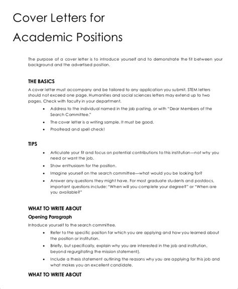 academic cover letter sles cover letter 13 free sle exle format free