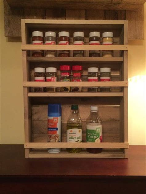diy spice rack from wood pallet diy pallet 3 tray spice rack 101 pallets