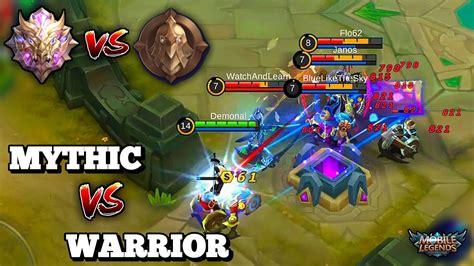 mythic mobile legend mythic vs warrior division lancelot against