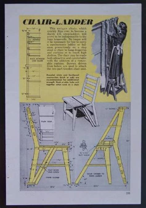 Library Chair Plans by Chair Ladder 1952 How To Build Plans Modern Eames Style