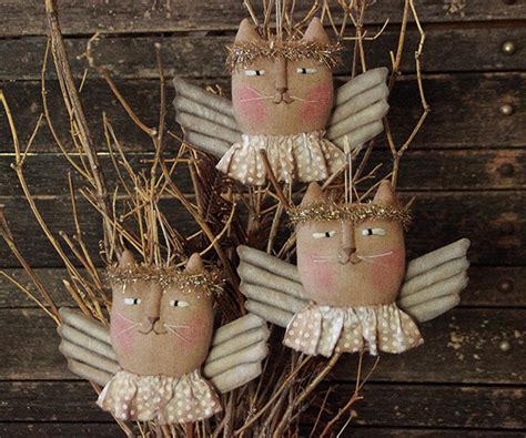 primitive christmas angel cat ornie pattern ornament pattern
