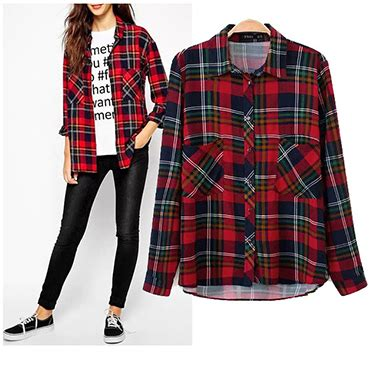 blue and red plaid flannel shirt for women womens plaid shirt dark blue red long button cuff