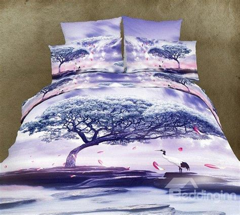 3d comforters high quality light purple crane under tree print 4 piece