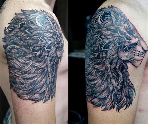 half sleeve tribal lion tattoo chronic ink