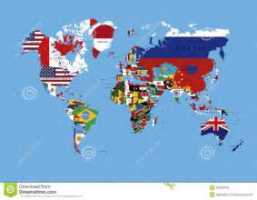 world map with country name and flag world map colored in countries flags names stock
