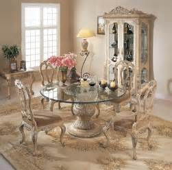 Round Glass Dining Room Sets Florence Round Glass Pedestal Table Dining Room Set By