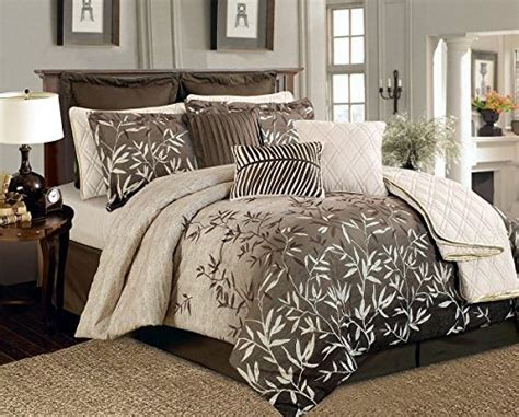 12 piece brown beige bamboo leaves tropical comforter set