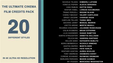 Credit Roll Template 20 Cinema Credits Pack By Neuronfx Videohive