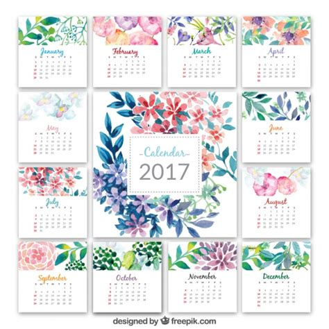 Calendã De Outubro 2017 Calendar 2017 With Watercolor Flowers Vector Free