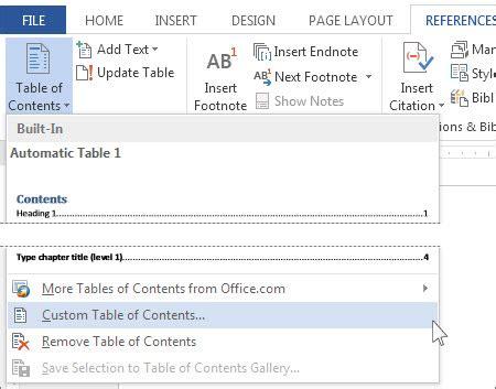 format apa jadual memformatkan atau menyesuaikan jadual kandungan word