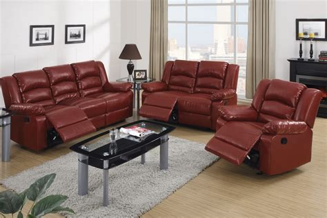 burgundy bonded leather recliner motion sofa loveseat set - Burgundy Leather Sofa Set