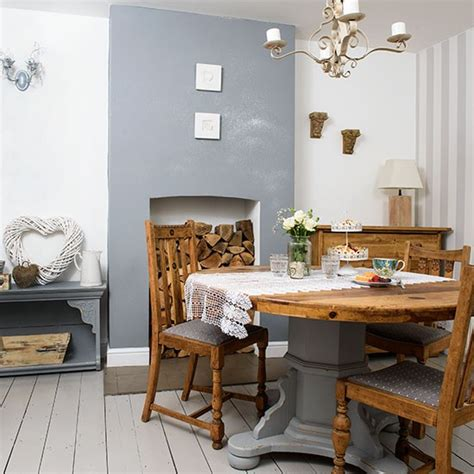 grey and white dining room with vintage table decorating