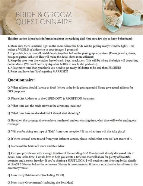 Wedding Planner Questions To Ask And Groom by And Groom Questionnaire Katelyn Education
