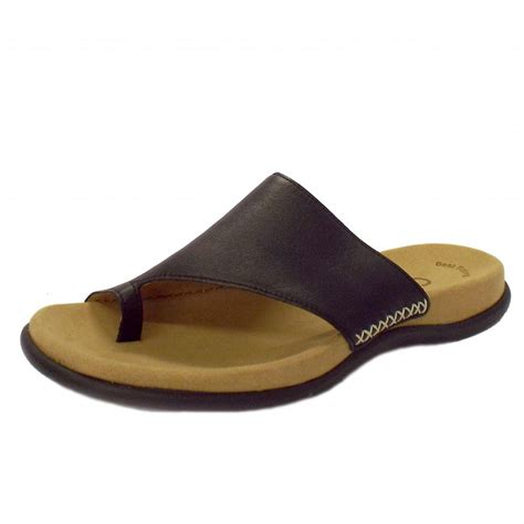 sandals with toe loop gabor sandals lanzarote leather sandals in black