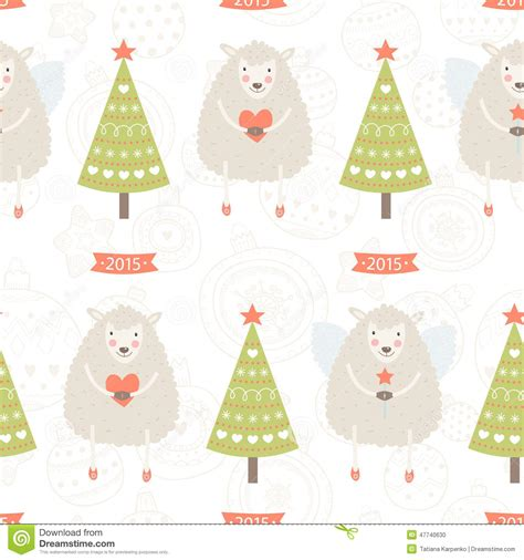 new year sheep pattern vector background with sheep and stock