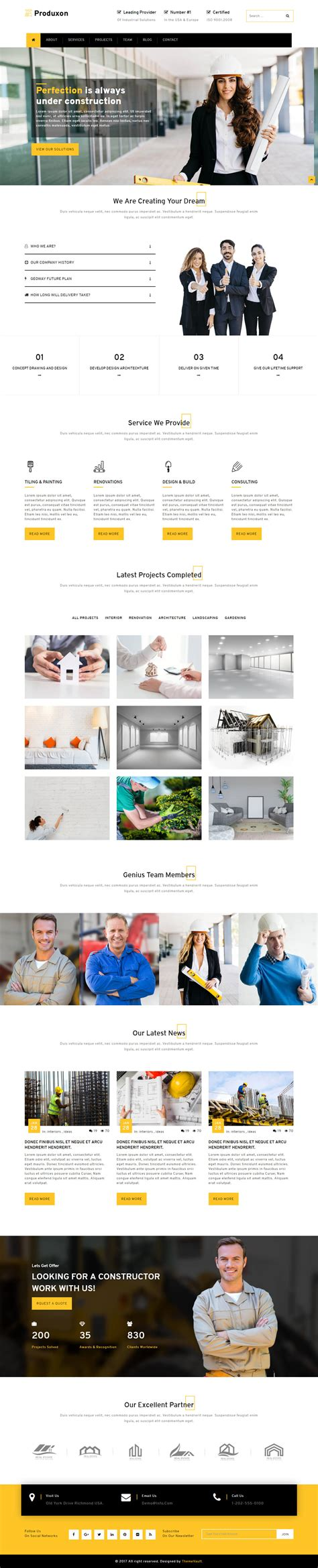Produxon Responsive Manufacturing Website Templates Themevault Free Manufacturing Website Templates