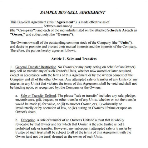 business buy sell agreement template sle buy sell agreement 7 free documents in pdf word