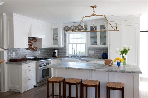 gray subway tile backsplash kitchen with coastal