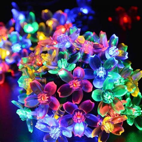 6w 50 Led Solar Powered Light Garden Holiday Decorative Multi Colored Solar Garden Lights