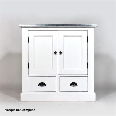 meuble salle de bain bois massif blanc 1 vasque 2 portes