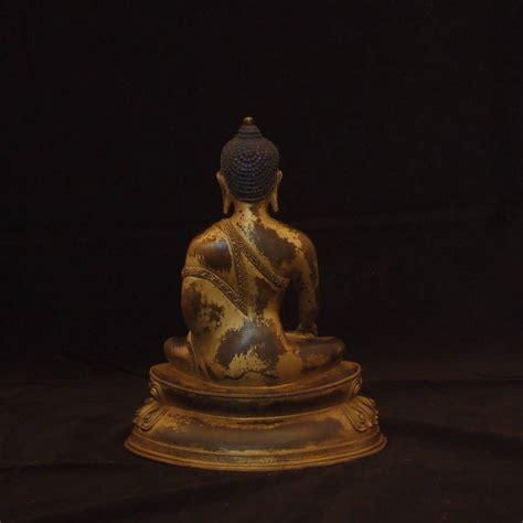 Buddha L by Gilt Bronze Figure Of The Medicine Buddha Bhaisajyaguru Lotus