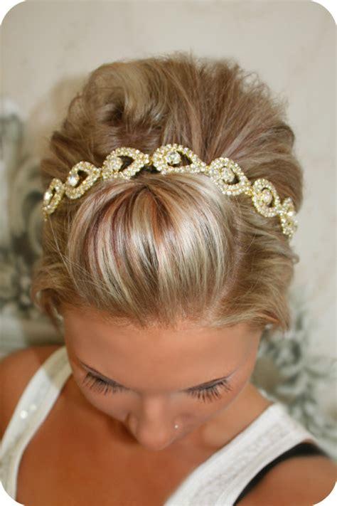 bridal piece gold elsie wedding headband ribbon