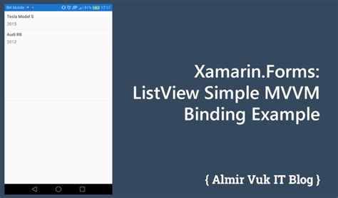 simple theme with template binding xamarin xamarin forms listview simple mvvm binding exle