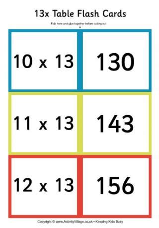 free printable multiplication flash cards up to 12 times tables flash cards