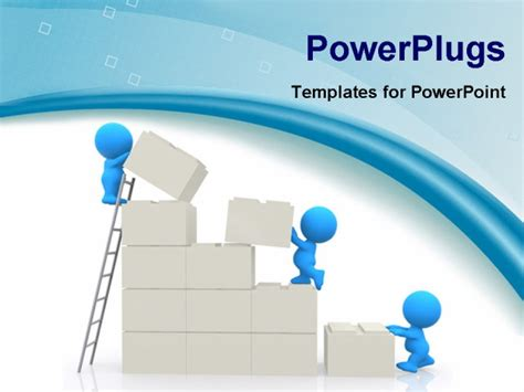 building powerpoint templates best powerpoint template 3d characters building a wall