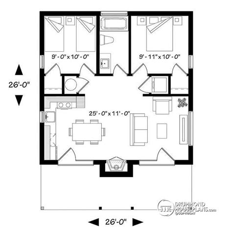 2 bedroom house plans open floor plan house plan w1909 bh detail from drummondhouseplans
