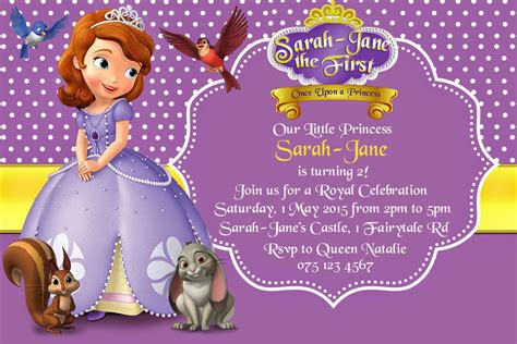 sofia the birthday card template how to create sofia the birthday invitations designs