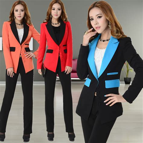 female work suits 2014 new 2015 spring and autumn formal pant suits for women