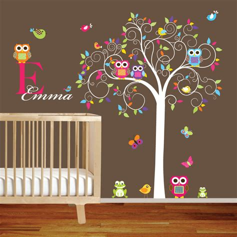 Tree Wall Decals For Nursery Etsy Swirl Tree Vinyl Wall Decal Set With By Wallartdesign On Etsy