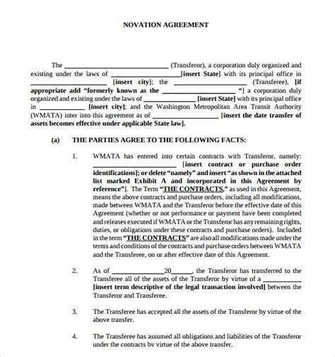 tripartite agreement template novation agreement 6 free pdf doc