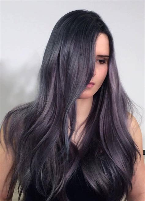 black grey hair dark gray with purple hair color cut and dyed