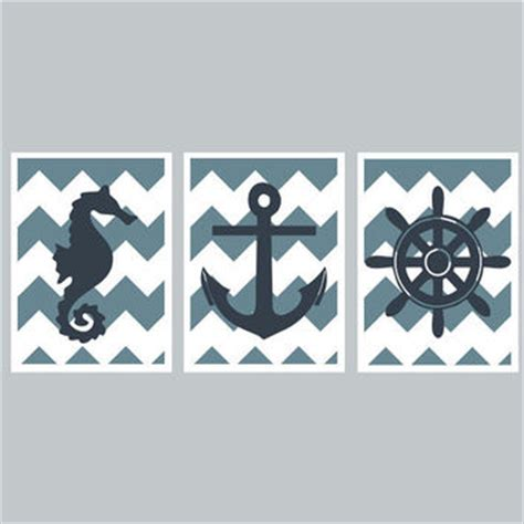 Nautical Nursery Room Set Chevron Kids Wall Art Diy Nautical Nursery Decor