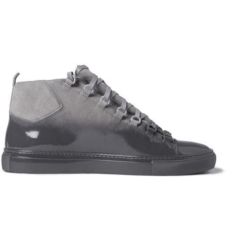balenciaga sneakers arena balenciaga arena glossed suede high top sneakers in gray