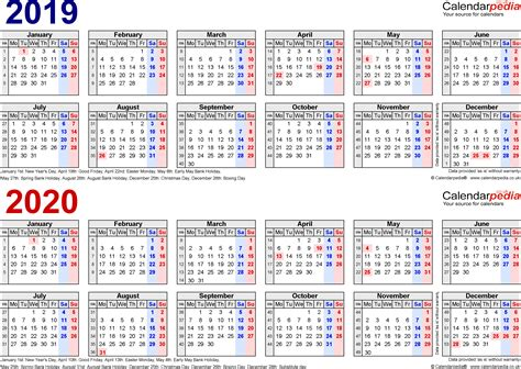 3 year calendar template for excel