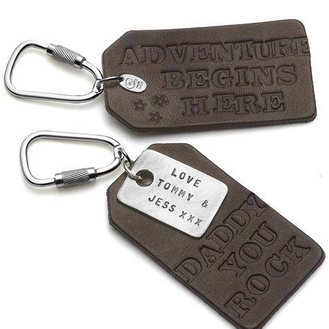 Leather Keyring personalised leather keyring by chambers beau