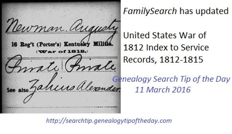 War Of 1812 Records Familysearch Us War Of 1812 Index To Service Records 171 Genealogy Search Tip