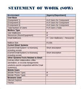 Contractor Statement Of Work Template by Sle Statement Of Work Template 11 Free Documents