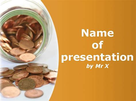 theme ppt money piggy bank with euros money powerpoint template