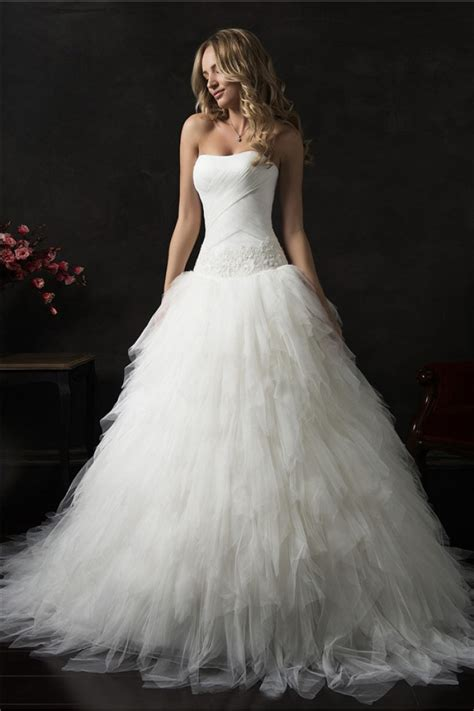 Gown Wedding Dress by Gown Strapless Drop Waist Corset Tulle Ruffle Layered