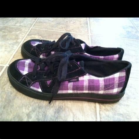 63 vans shoes vans purple and black plaid tennis